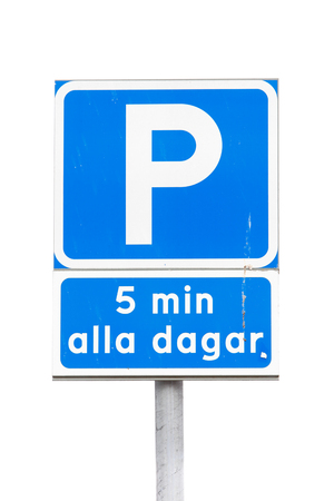 Swedish parking sign with additional panel allowing parking for five minutes only isolated on white. Stock Photo
