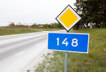 The primary county road 148 in the Swedish province of Gotland Stock Photo