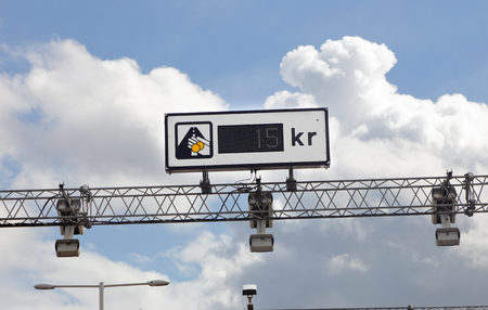 Road sign at the automatic pay station for Swedish toll.