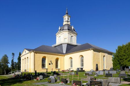 geodetic: Tornio, Finland - July 20, 2016: The Alatornio church exterior in and a point in the Struve Geodetic Arc is located in the bell tower. Editorial