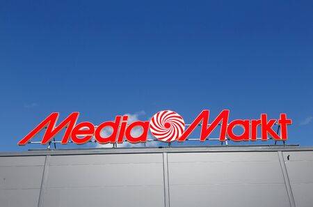 retailer: Close-up of the consumer electronics retailer Media Markt sign. Editorial