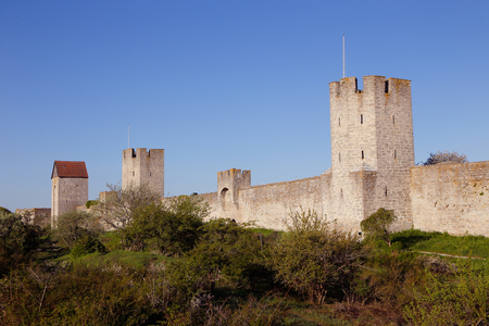 Part of city wall surronding Visby the primary city of tne Swedhish province of Gotland. Stock Photo