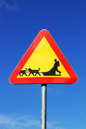 Swedish road sign beware of sledge dog team on blue sky. Stock Photo