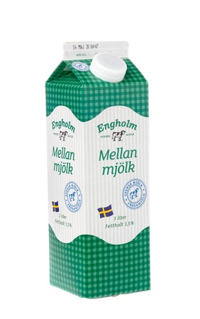 Stockholm, Sweden - April 30, 2016: One carton milk box containing 1 l milk branded Engholm isolated on white sold in the Netto stores on the Swedish market. Editorial