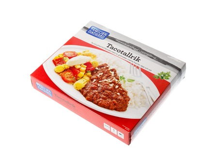 Stockholm, Sweden - May 5, 2016: A package of taco microwave meal frozen in a carton package produced by the brand Dafgards for the Swedish market.