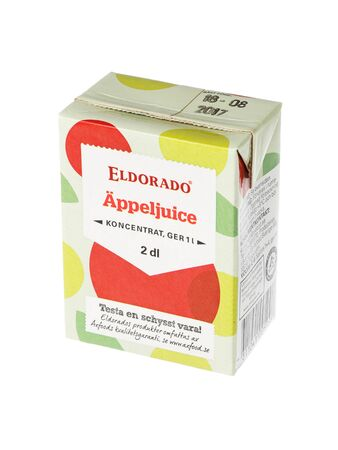 Stockholm, Sweden - May 6, 2016: An unopened pack of 2 dl  apple juice concentrate Eldorado for the Swedish market isolated on white background. Editorial