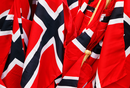 norwegian: Close up of small Norwegian flags.