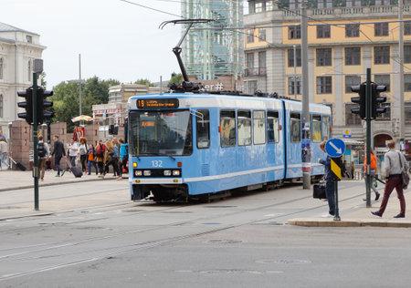 Oslo, Norway - September 16, 2016: Tram of type SL79 on line 19 at Jernbanetorget.