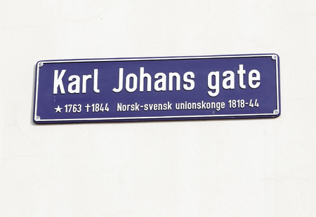 karl: Street name sign for the  Karl Johans gate located in Oslo Norway., named after the Norwegian-Swedish union king.