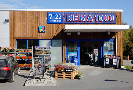 Entrance to the grocery store Rema 1000 in Orje, Norway.