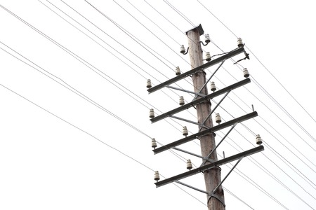 telephone pole: Close-up of a vintage telegraph line and telephone pole with a blank line. Stock Photo