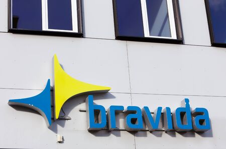 oft: Solna, Sweden - Fabruary 23, 2017: Closeup oft he logo and sign at the construction company Bravida branch office located in Solna Business park.