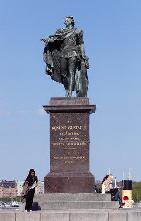 gustaf: Stockholm, Sweden - May 9, 2016: The statue of the Swedish king Gustaf III:by Johan Tobias Sergel located at Skeppsbrokajen near the royal palace.