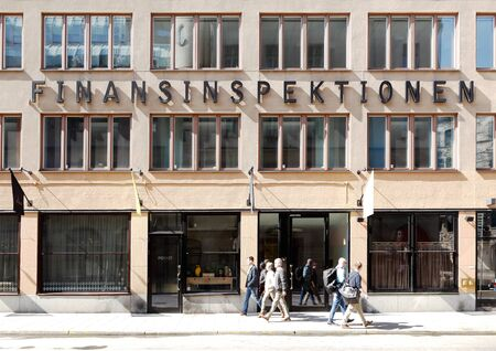 supervisory: Stockholm, Sweden - April 19, 2014: The building and entrance to the office of the Swedens financial supervisory authority (finansinspektionen) located at the street Norrlandsgatan. Editorial