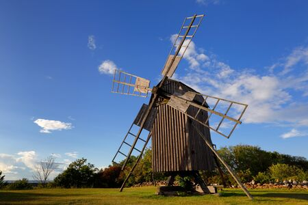 Wooden post mill windmill at Blasas in the Swedish province of Oland. Stock Photo