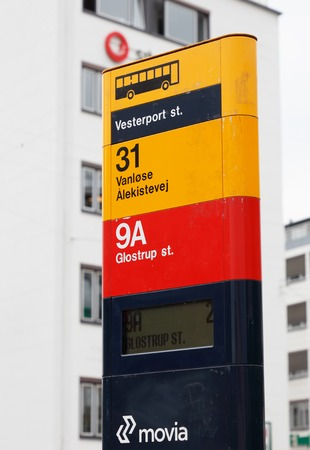 Copenhagen, Denmark - August 24, 2017: Bus stop sign at the stop Vesterport raillroad station for busses served by line 31 and 9A in service for Movia.