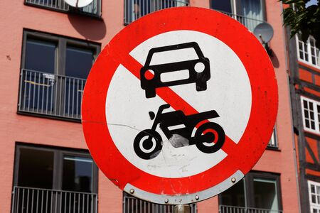 No power-driven vehicles allowed road sign. Stock Photo
