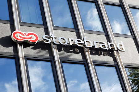 Trondheim, Norway - September 30, 2016: Facade sign with the logo of the Norwegian financial and insurance group Storebrand.