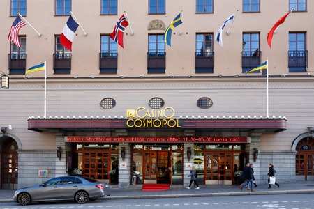 Stockhomlm, Sweden - October 4, 2017: The building exterior  and entrance to casino Casino Cosmopol operated by Svenska Spel  and located at the address Kungsgatan 65, Stockholm, Sweden.
