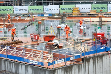 Trondheim, Norway - October 16, 2017: The Skanska and Entra construction site for the energy-positive office building Powerhouse Brattorkaia, located at Brattorkaia.