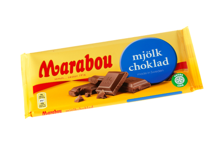 Stockholm, Sweden - November 17, 2017: Marabou milk chocolate bar for the Swedish market. Marabou is a Swedish chocolate brand, first launched in 1919. Package from November 2017 isolated on white background. Editorial