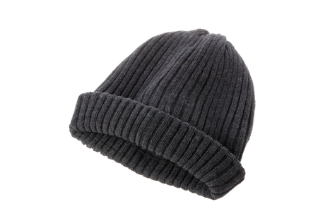 A gray beanie isolated on white background. Stock Photo
