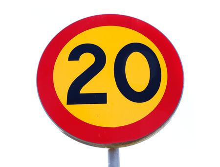 Speedlimit sign 20 on white background..