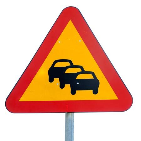 Tailback traffic warning sign isolated on white