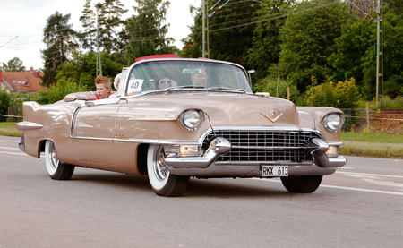 Vasteras, Sweden - July 5, 2013: One Cadillac Eldorado Convertible 1955 during the cruising parade at the Power Big Meet event Editorial