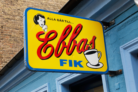Helsingborg, Sweden - April 14, 2017: Close-up of the sign above the antrance to the retro cafe Ebbas fik, located at Bruksgatan 20 in the city centre.