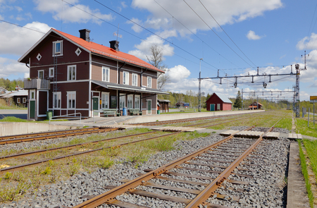 Ann, Sweden - May 30, 2016: Exterior of the Ann railroad stationbuilding and plattform in the Swedish province of Jamtland.. Editorial