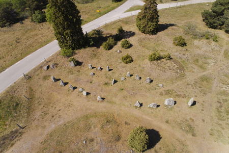 Aerial view of an ancient stone ship located in Asa, Sweden.