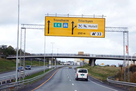 Trondheim, Norway - September 26, 2015: Expressway road number E6 in direction of Trondheim from south at exit number 33. Editorial