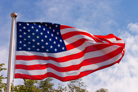 Close-up of the United states of America flag hoisted.