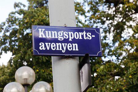 Gothenburg street Kungsportsavenyen sign Stock Photo
