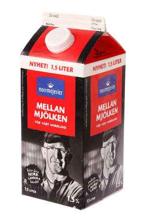Lulea, Sweden - November 11, 2020: One milk carton with milk produced by the dairy Norrmejerier.