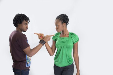 accusing: Couple in a quarrel accusing each other