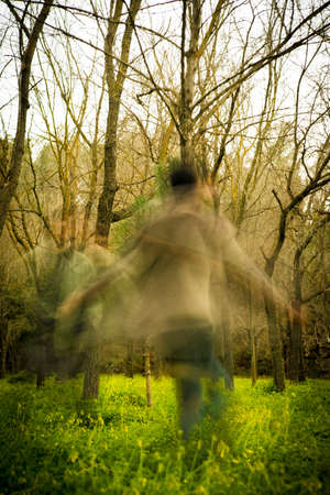 phantasmagoric: ghost in the woods Stock Photo