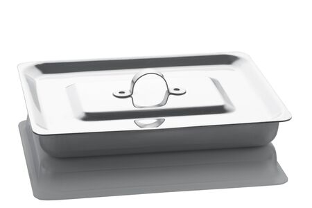 surgical tray: The tray from stainless steel with a cover for surgical tools is isolated on a white background with reflection