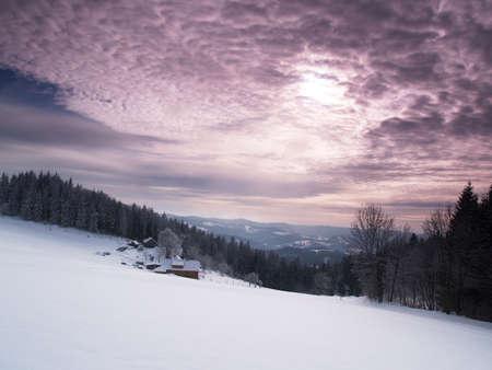 dramatically: Wintry landscape with dramatically sky. Stock Photo