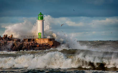 hits: Storm hits the lighthouse.