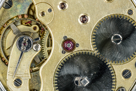 old pocket watch mechanism. close-up photo