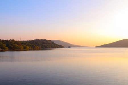 long weekend: Beautiful sunset view at Lamtaklong Dam,Korat,Thailand on long weekend