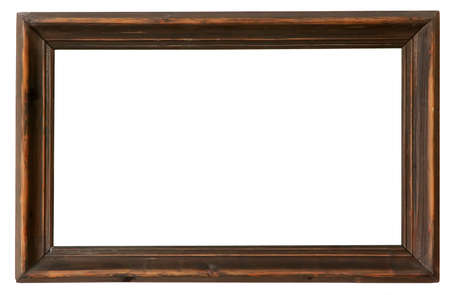 Empty old wooden frame on white background
