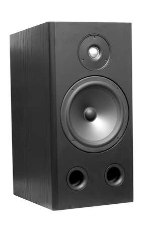 Powerful black hi-fi woofer isolated on white
