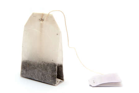 english breakfast: Tea bag isolated on white.