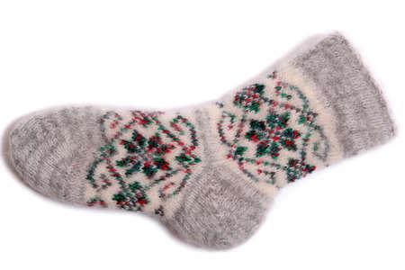 Warm sock isolated on white. photo