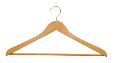 clothing rack: Wooden hanger isolated on white. Stock Photo