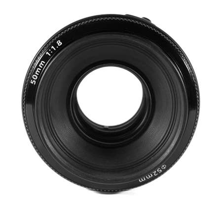 Camera lens isolated on white. photo