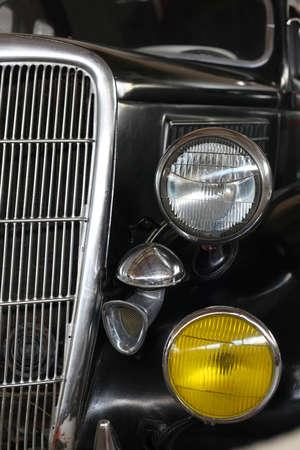 Headlight of retro car close-up Imagens